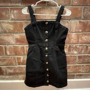 H&M Black Button Overall Dress